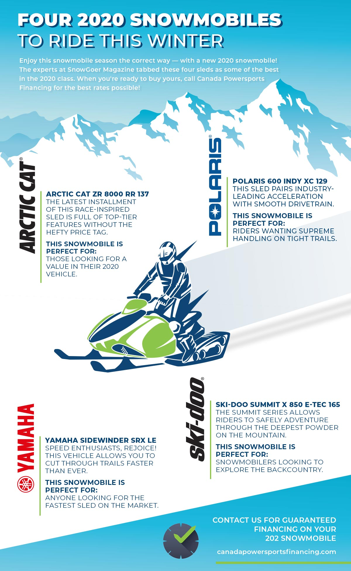 Four Snowmobiles to Finance in 2020 - Canada Powersports Financing